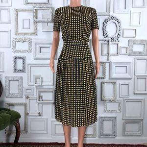 Vintage 2 Piece Navy & Yellow Top & Skirt